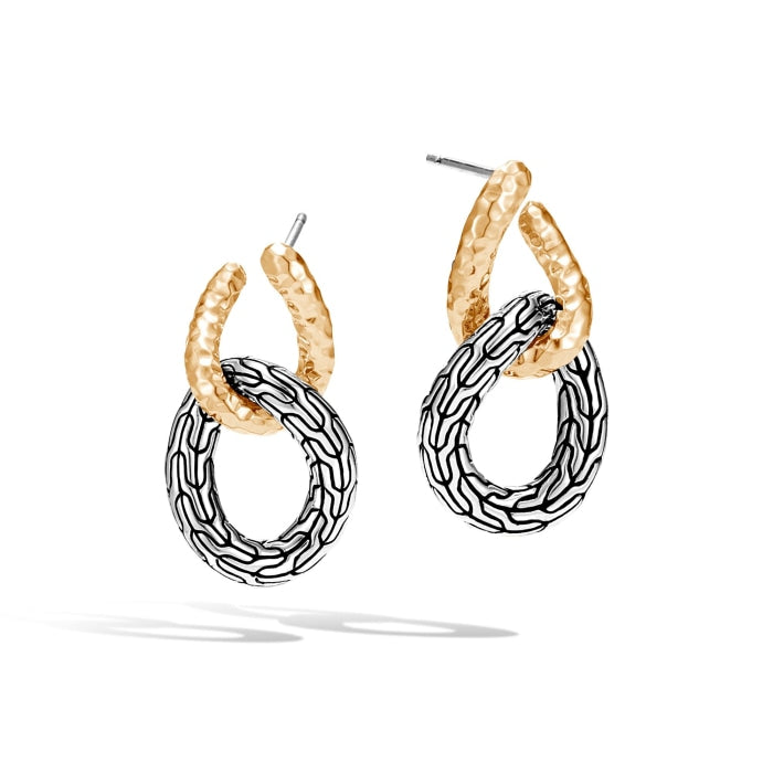 Classic Chain Double Circle Earrings (Two Tone) - Jewelry Designers Boston