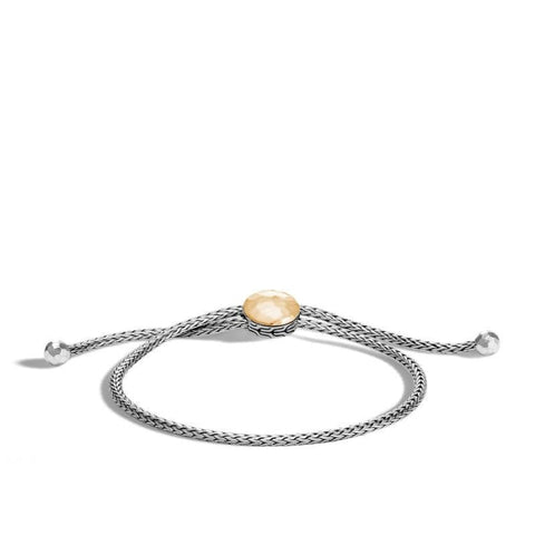 Classic Chain Hammered Pull Bracelet (Two Tone) - Jewelry Designers Boston