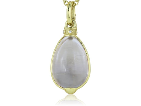 Crystal Egg And Diamond Pendant Necklace (18K Yellow Gold) - Jewelry Boston