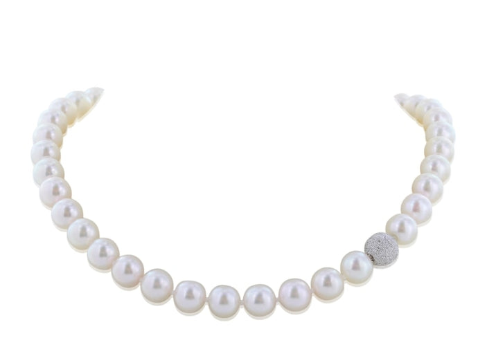 Cultured Pearl & Pave Diamond Ball Clasp Necklace - JEWELRY Boston