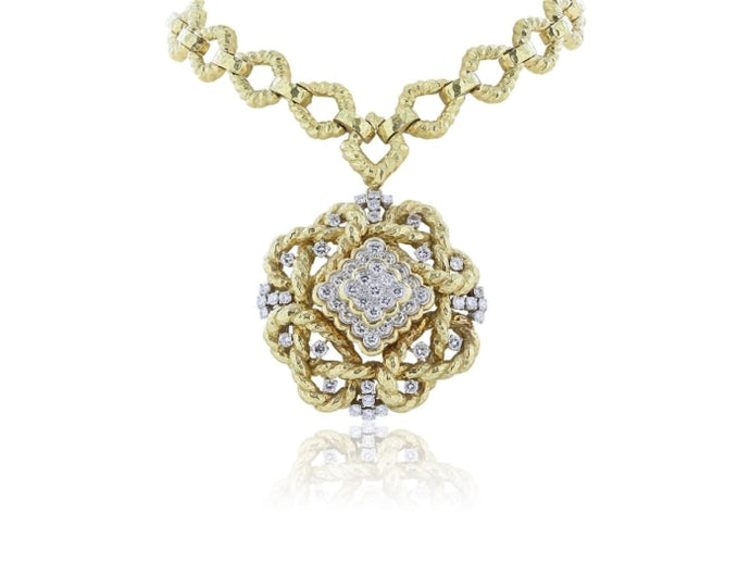 David Webb 18 Karat Yellow Gold And Diamond Necklace - Jewelry Boston