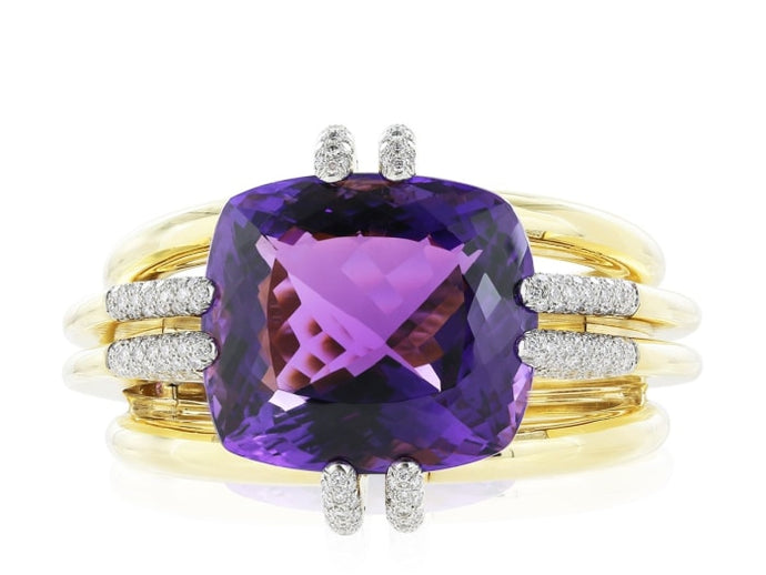 David Webb Amethyst And Diamond Cuff Bracelet - Jewelry Boston