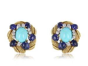 David Webb Turquoise Diamond & Sapphire Earrings - Jewelry Boston