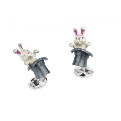 Deakin & Francis~ Sterling Silver Rabbit In Hat Cufflinks - Cufflinks Boston