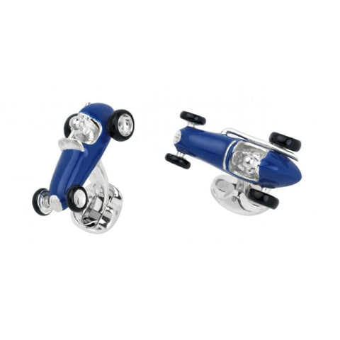 Deakin & Francis~Sterling Silver Blue Racing Car Cufflinks - Cufflinks Boston