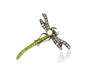 Demantoid And Diamond Art Nouveau Dragonfly Brooch (Sterling Silver & 18K Yellow Gold) - Jewelry Boston
