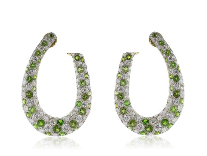 Demantoid Garnet Diamond Hoop Earrings - JEWELRY Boston