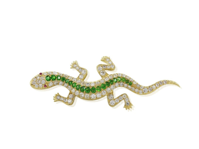 Demantoid Garnet & Diamond Lizard Pin (Yellow Gold) - JEWELRY Boston