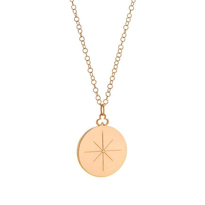 Devon Woodhill North Star Gold Locket w/ Chain & Diamond - Jewelry Designers Boston