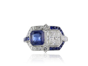 Diamond And Sapphire Art Deco Style Ring - Jewelry Boston