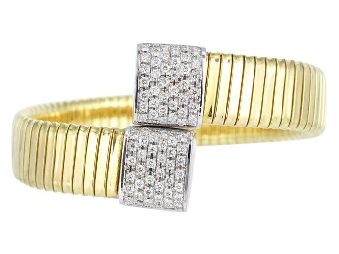 Diamond Bypass Flexible Cuff Bracelet - Jewelry Boston