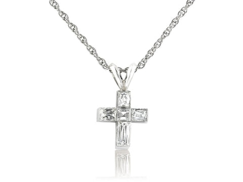 Diamond Cross Pendant Necklace (18K White Gold) - Jewelry Boston