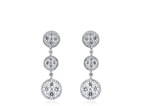 Diamond Drop Three Tier Earrings - Jewelry Boston
