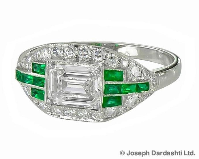 Diamond And Emerald Ring (Platinum) - Jewelry Boston