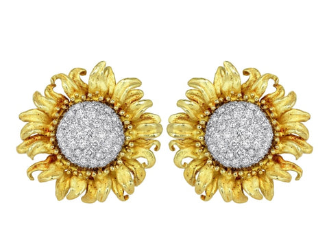 Diamond Floral Motif Clip Earrings - Jewelry Boston