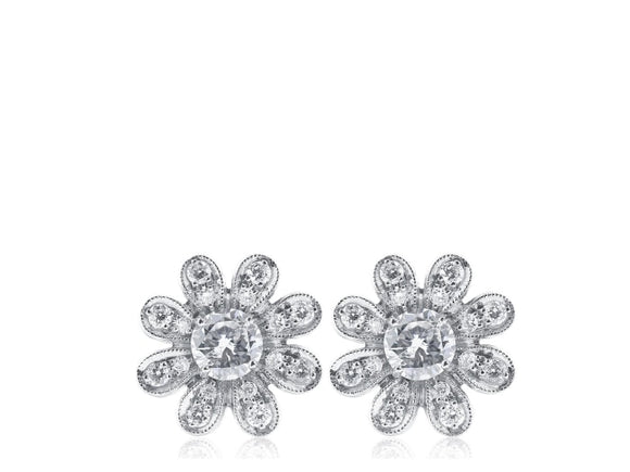 Diamond Flower Motif Earrings - Jewelry Boston