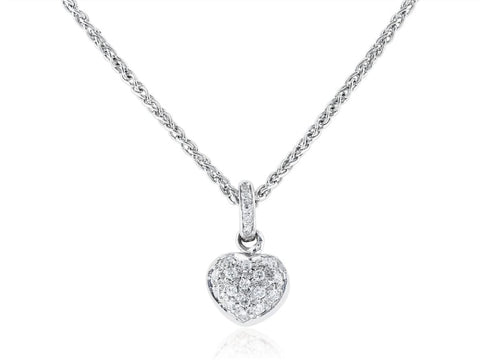 Diamond Heart Pendant Necklace (14K White Gold) - Jewelry Boston