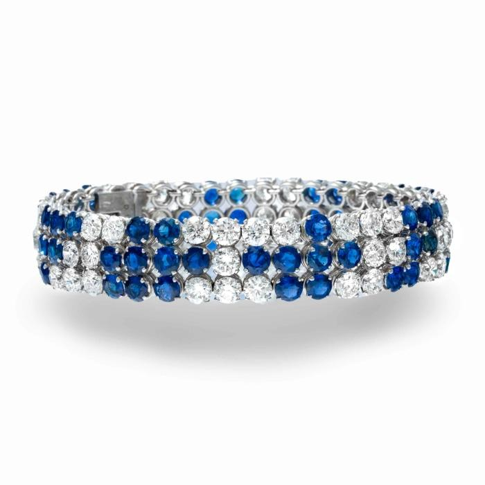 Plat flexible Diamond and Sapphire bracelet - Boston