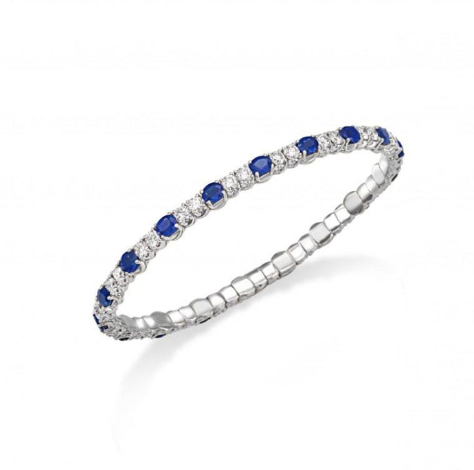 Diamond & Sapphire Xpandable Tennis Bracelet (White Gold) - Jewelry Designers Boston