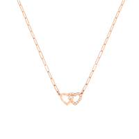 Dinh Van Double Coeurs R9 Necklace W/ Diamonds (Pink Gold) - Jewelry Boston