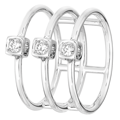 Dinh Van Le Cube Diamant Cuff Diamond Ring (White Gold) - Jewelry Boston