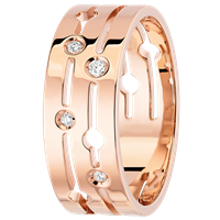 Dinh Van Medium Pulse Pink Gold Ring W/ Diamonds - Jewelry Boston