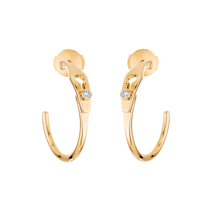 Dinh Van Serrure Jonc Small Diamond Hoop Earrings (Yellow Gold) - Jewelry Boston