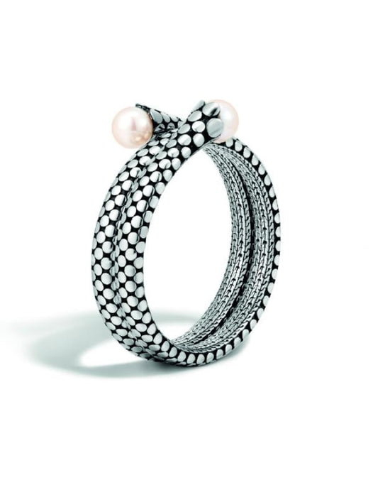 Dot Double Coil Bracelet w/ Fresh Water Pearls - Jewelry Designers Boston
