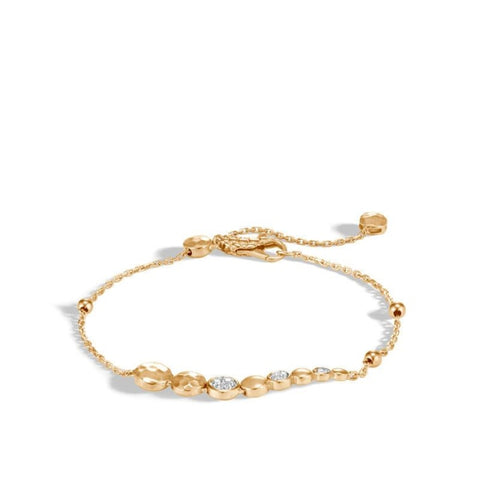 Dot Hammered Pave Pull Through Bracelet (Yellow Gold) - Jewelry Designers Boston