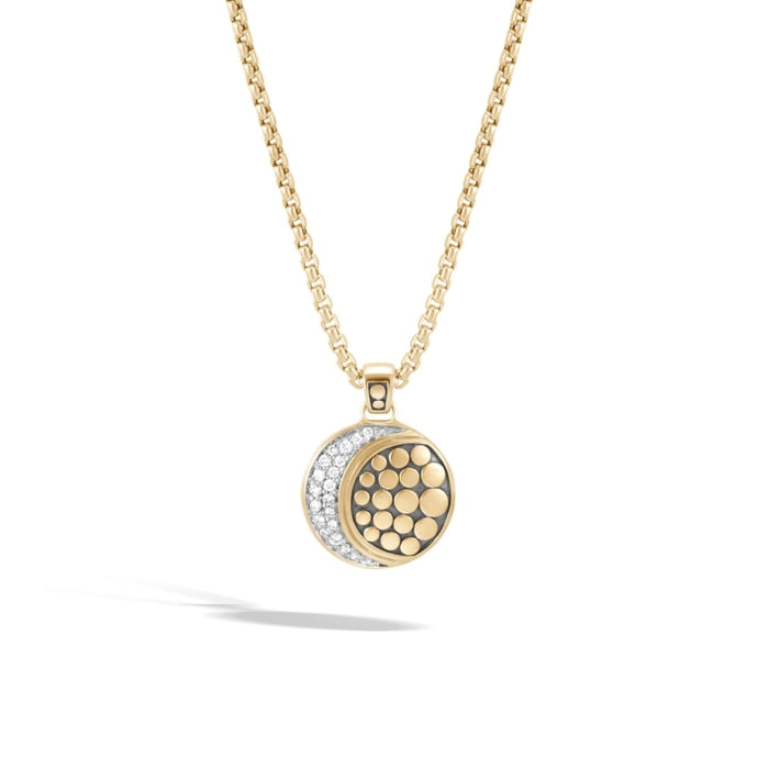 Dot Moon Phase Gold Pave Pendant Necklace (Yellow Gold) - Jewelry Designers Boston