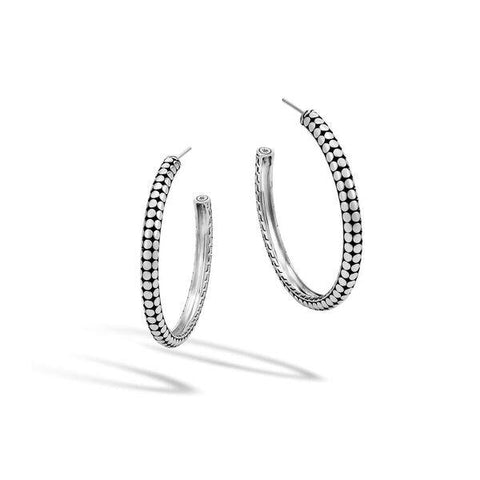 Dot Silver Small Hoop Earrings - Jewelry Designers Boston