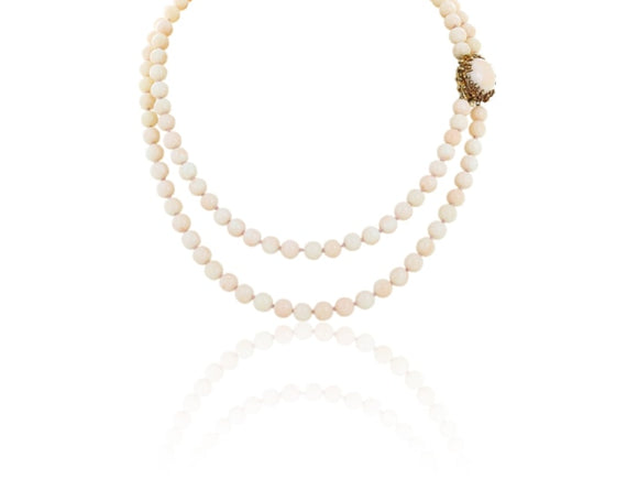 Double Strand Coral Bead Necklace - Jewelry Boston