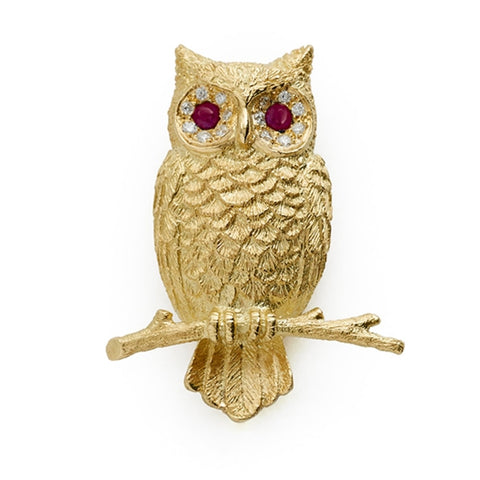 E.Wolfe & Co. Owl Brooch (Yellow Gold) - Jewelry Designers Boston