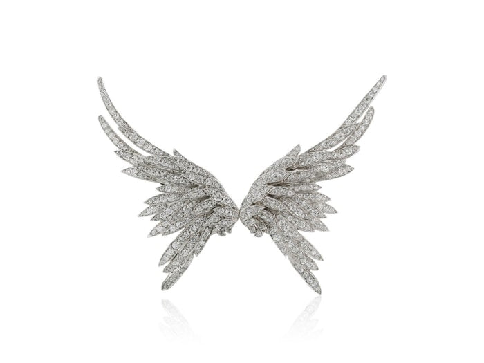 Edwardian Diamond Wing Clip/ Brooch - Jewelry Boston