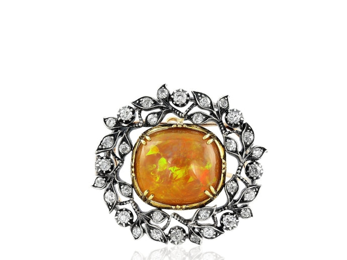 Edwardian Fire Opal Pin (Two Tone) - JEWELRY Boston