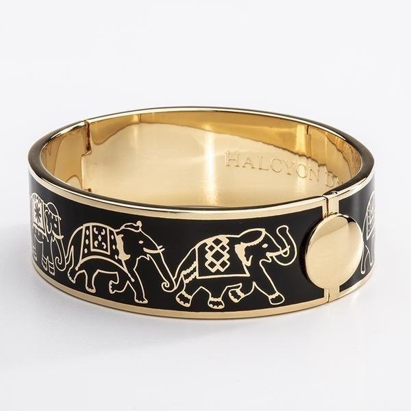 Elephant Parade Black/Gold Hinged Bangle - Boston