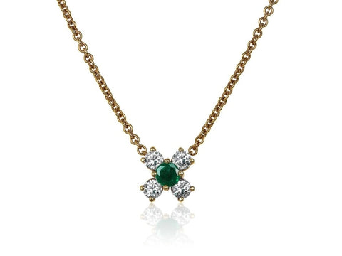 Emerald And Diamond Cluster Pendant Necklace (18K Yellow Gold) - Jewelry Boston