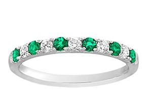 Emerald And Diamond Half-Way Band - Jewelry Boston