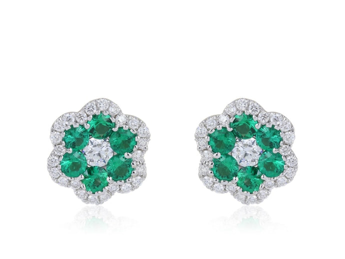 Emerald & Diamond Floral Motif Earrings - JEWELRY Boston