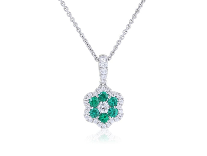 Emerald & Diamond Floral Pendant Necklace (White Gold) - JEWELRY Boston