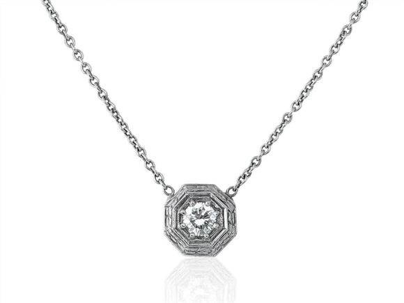 Estate 0.52 Carat Diamond Pendant Necklace (18K White Gold) - Jewelry Boston