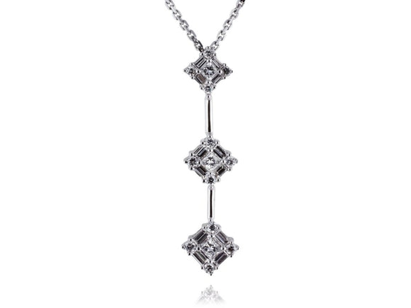 Estate 0.65 Carat Diamond Pendant Necklace (14K White Gold) - Jewelry Boston
