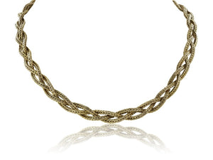 Estate 18 Karat Yellow Gold Braided Solid Necklace - Jewelry Boston