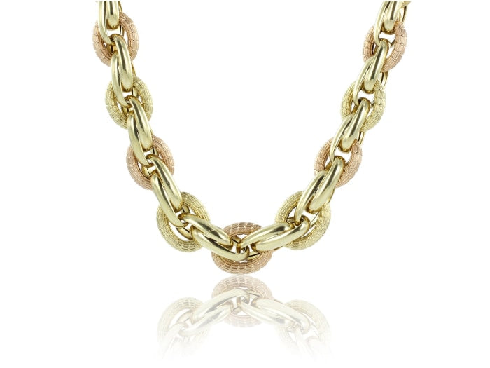 Estate 18k Two Tone Chain Link Necklace - JEWELRY Boston