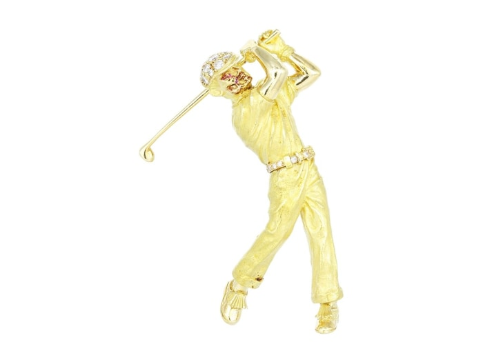 Estate 18K Yellow Gold Golfer Pin - Jewelry Boston