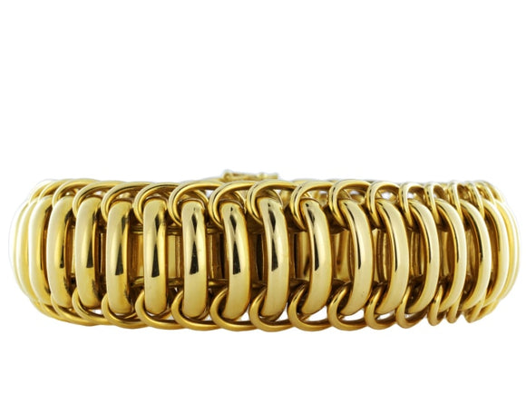 Estate 18Kt Flexible Wide Gold Bracelet - Jewelry Boston