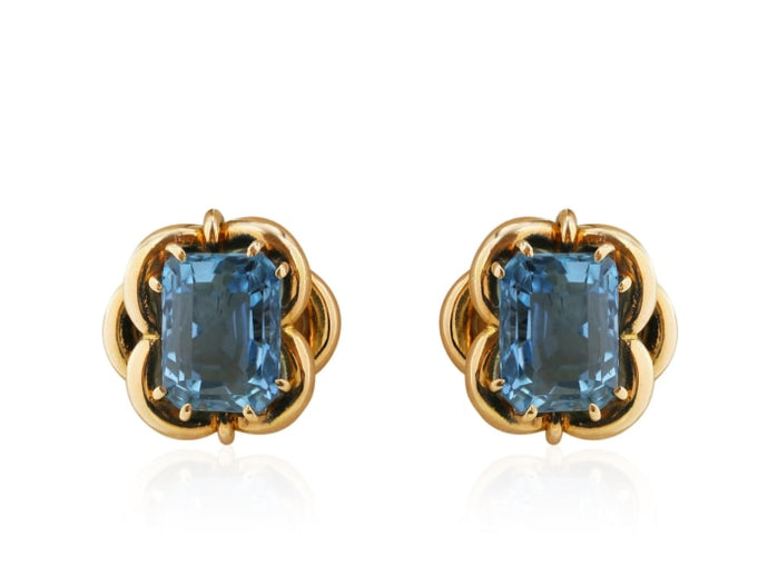 Estate 18Kt Gold And 11.50 Carat Aquamarine Stud Earrings - Jewelry Boston