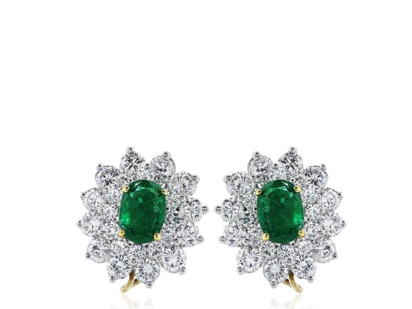 Estate 2.50 Carat Emerald And Diamond Cluster Earrings (Platinum) - Jewelry Boston