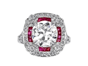 Estate 2.96 Carat Old European Cut Diamond And Ruby Ring (Platinum) - Jewelry Boston