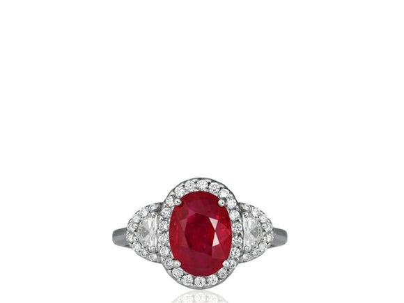 Estate 3.01 Carat Ruby And Diamond Ring (18K White Gold) - Jewelry Boston